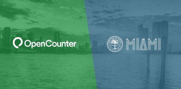 Photo of Miami, Florida with overlay images of OpenCounter logo and Miami logo