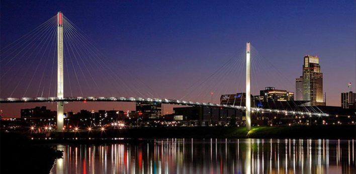 Omaha bridge at night